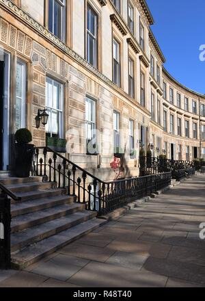 Luxury townhouses in Park Circus, Kelvinbridge, Glasgow, Scotland, UK, Europe - Stock Image