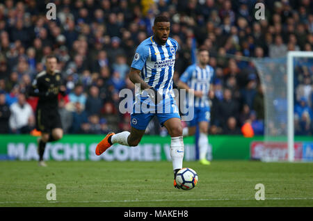 Brighton's Dutch forward Jurgen Locadia during the Premier League match between Brighton and Hove Albion and Leicester City at the American Express Community Stadium in Brighton and Hove. 31 Mar 2018 - Stock Image