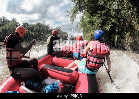 Point of view whitewater rafting on the Wampu river in north Sumatra, Indonesia - Stock Image