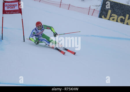 Val d'Isere, France, 08th December 2018. FIS ski world cup. Zan kranjec of Slovenia 2nd after the 1st run Val d'Isere Ski World Cup Men's Giant Slalom. Credit: Fabrizio Malisan/Alamy Live News - Stock Image