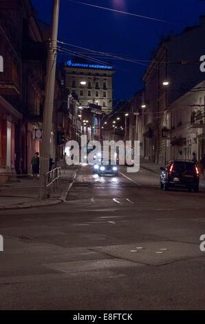 Vilnius by night - Stock Image