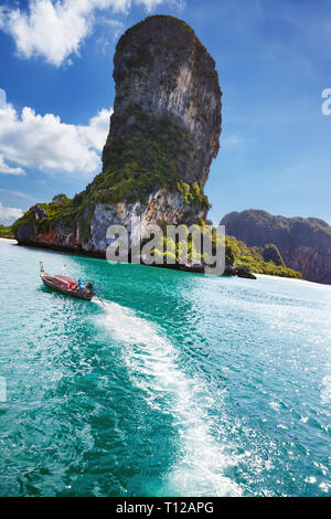 Andaman coast with beautiful rocks and beaches, Krabi province, Thailand - Stock Image