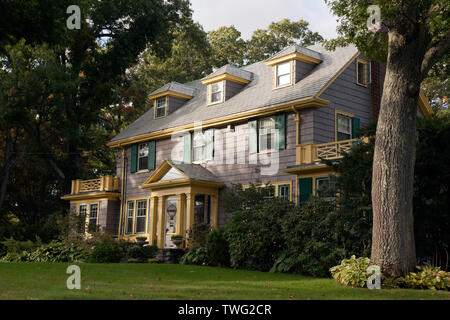 View of a Traditional Wood Shingle clad House in  Newton - Stock Image