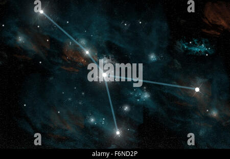 An artist's depiction of the constellation Cancer. The constellation features the nearby star cluster known - Stock Image