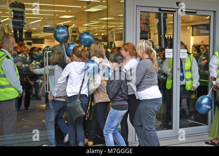 The sales, with young female shoppers rushing into a Primark store, Derby, UK - Stock Image