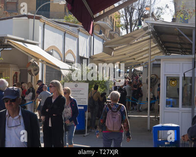 At the green line, border crossing between north and south in Nicosia Cyprus - Stock Image