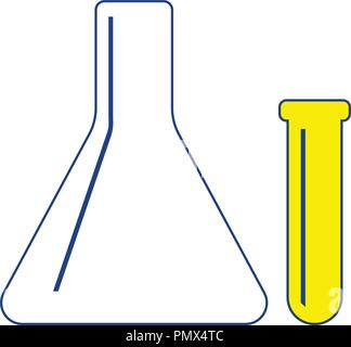 Icon of  Chemical bulbs. Thin line design. Vector illustration. - Stock Image