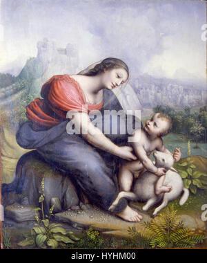 Cesare da Sesto   The Virgin and Child with a Lamb   Google Art Project - Stock Image