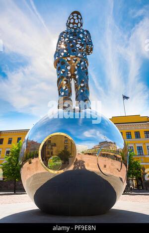 Lightbringer Helsinki, low angle view of the huge steel Lightbringer Winter War Monument (2018) sited in Kasarmitori square in Helsinki, Finland - Stock Image