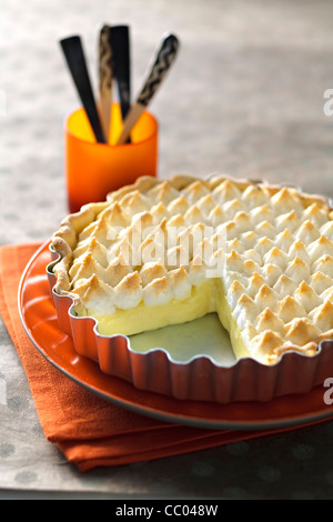 Lemon Tart with Meringue - Stock Image
