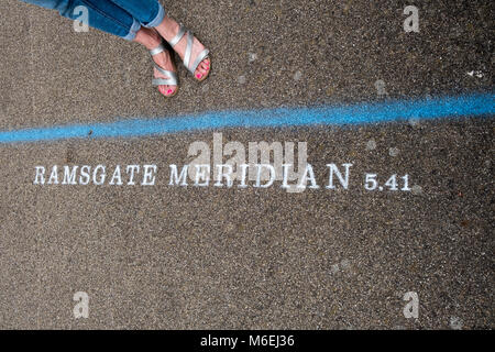 For the 2017 Ramsgate Festival artist Theresa Smith, is celebrating that the town has its own Meridian Line  - 5 - Stock Image