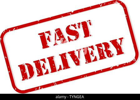 Fast delivery red rubber stamp vector isolated - Stock Image