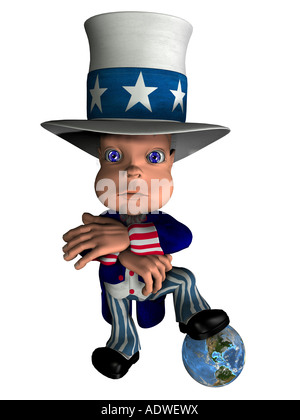 National figure Uncle Sam stands on the globe as symbol for control and the influence of the USA on the world - Stock Image
