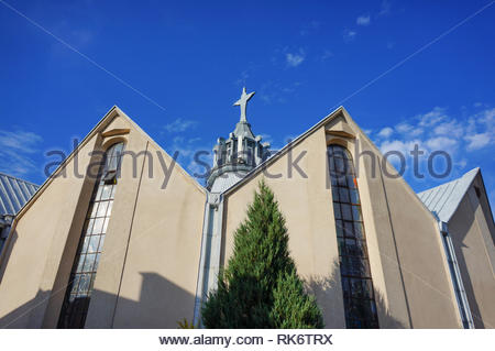 Poznan, Poland - July 10, 2018: Low view of a church on the Stare Zegrze district - Stock Image
