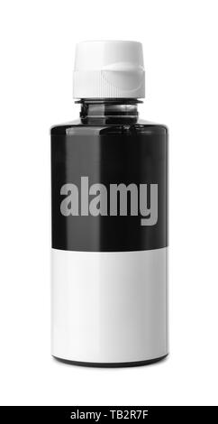 Front view of black  printer ink bottle with blank label isolated on white - Stock Image