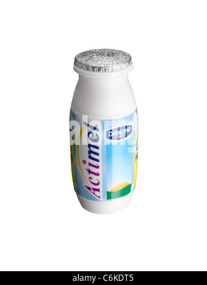 A cut out of a bottle of Actimel Probiotic health drink - Stock Image