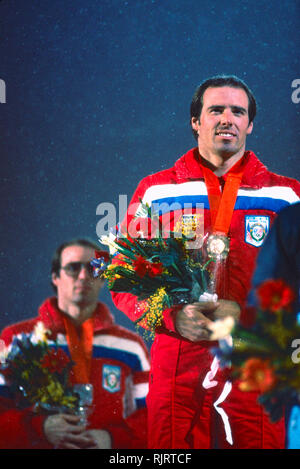 Phil Mahre (USA) Gold -C-, Steve Mahre (USA) Silver, winners of the Men's Slalom at the 1984 Olympic Winter Games. - Stock Image