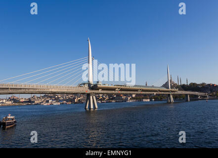 Golden Horn Metro bridge in Istanbul Turkey - Stock Image