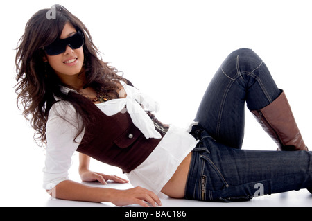 sexy teen posing with eyeglasses - Stock Image