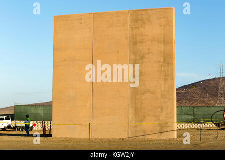 Trump administration new US-Mexico border wall prototypes are unveiled in October 2017. This concrete wall prototype - Stock Image