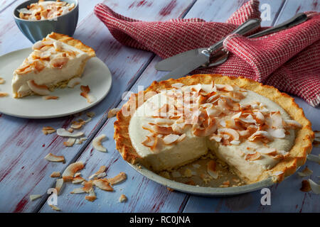 Coconut cream pie - Stock Image