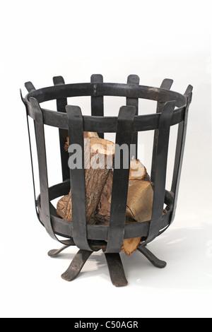 metal log basket - Stock Image