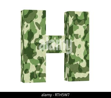 Camouflage letter. Capital Letter - H isolated on white background. 3D render Illustration - Stock Image