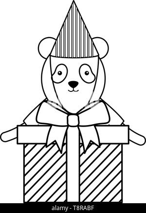 cute bear panda with gifts boxes in birthday party vector illustration design - Stock Image