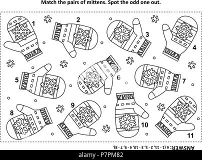 IQ training visual logic puzzle and coloring page with Santa's (or somebody's else) knitted mittens. Match the pairs. Spot the odd one out. - Stock Image