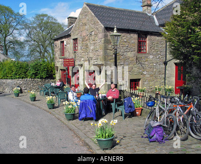 Tea break during bike riding the High Peak Trail Peak District Derbyshire Great Britain - Stock Image