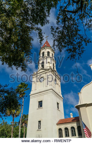The Cathedral of St Augustine along the Plaza de la Constitucion in the historic district of Saint Augustine, Florida USA - Stock Image