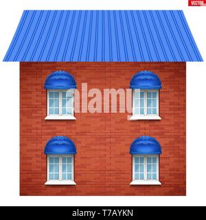 House facade with four windows. Sample project of house buildings. Vector Illustration isolated on white background. - Stock Image
