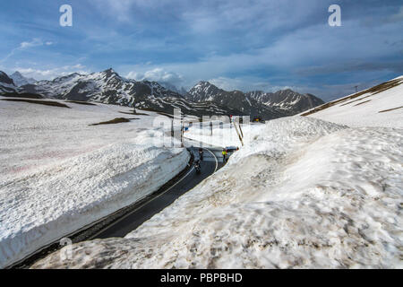 Little St. Bernard Pass June 2018 snow Col du Petit Saint Bernard from La Risiére Rhone Alpes Savoie France to the Aosta Valley of  Italy - Stock Image
