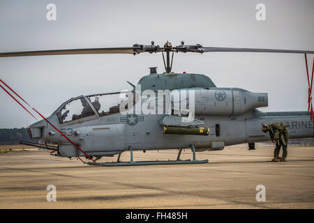 An AH-1W Super Cobra rests on the flight line aboard Marine Corps Air Station Beaufort, Feb. 22. Squadrons from - Stock Image