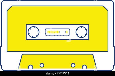 Audio cassette  icon. Thin line design. Vector illustration. - Stock Image