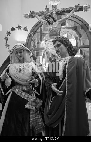 God, Mary an Jesus. Church of the Immaculate conception. Mijas Pueblo, Málaga, Spain. - Stock Image