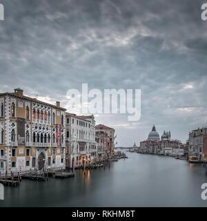 Canal Grande of the Ponte dell' Accademia, Venice, Italy - Stock Image