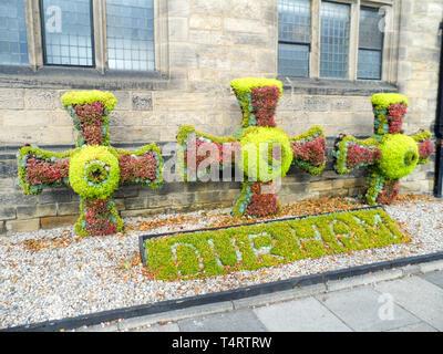 St Cuthbert's cross floral arrangement, Palace green, Durham, England 2018 - Stock Image