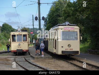 Two Diesel Tramcars at the ASVi Museum's Depot, Begium -1 - Stock Image