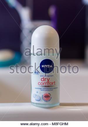 Poznan, Poland - March 13, 2018: New Nivea Dry Comfort anti perspirant Plus 48 roller - Stock Image