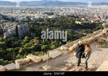 View from The Parthenon Acropolis to Athens, Greece - Stock Image
