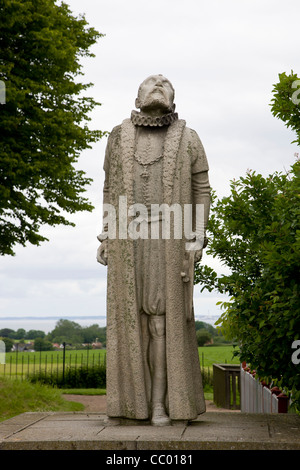 Statue of Tycho Brahe on the island of Hven in Oresund - Stock Image
