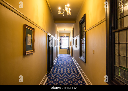 KATOOMBA, Australia - An corridor inside the historic Carrington Hotel in Katoomba in the Blue Mountains of New - Stock Image