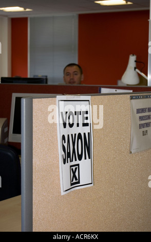 Posters saying Vote Saxon have started appearing all over the country this one in Milton Keynes office The BBC s - Stock Image