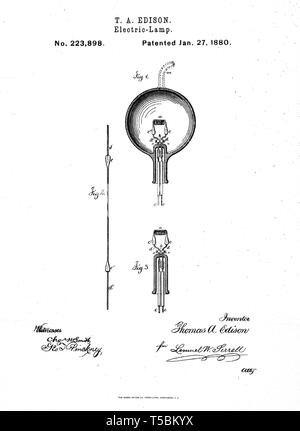 Thomas Edison, illustration of the Incandescent Light Bulb invention by Thomas Edison, 1880 - Stock Image
