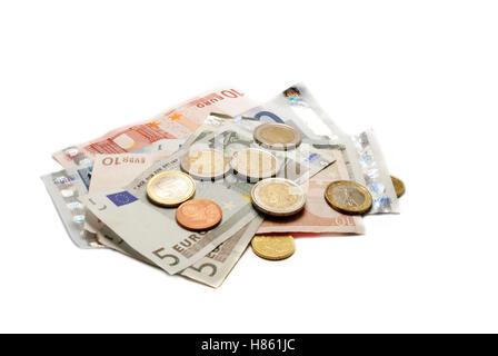al lot of euro money isolated on white background - Stock Image