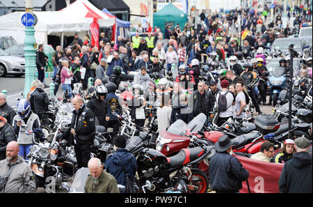 Brighton UK 14th October 2018 - Despite the gloomy weather thousands of bikers and custom car enthusiasts enjoy this years Brightona Motorcycle event along Madeira Drive on Brighton seafront raising money for the Sussex Heart Charity Credit: Simon Dack/Alamy Live News - Stock Image