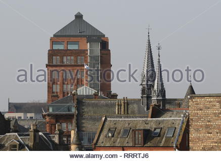 Distant view of DC Thomson headquarters Meadowside and McManus Galleries Dundee Scotland  February 2019 - Stock Image