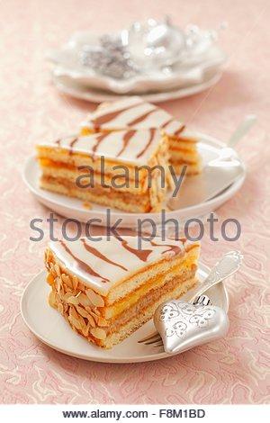 Three slices of Christmas marzipan tart - Stock Image