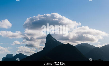 Dramatic view of Christ The Redeemer Statue on Corcovado Hill, Rio de Janeiro, Brazil - UNESCO World Heritage Site. - Stock Image